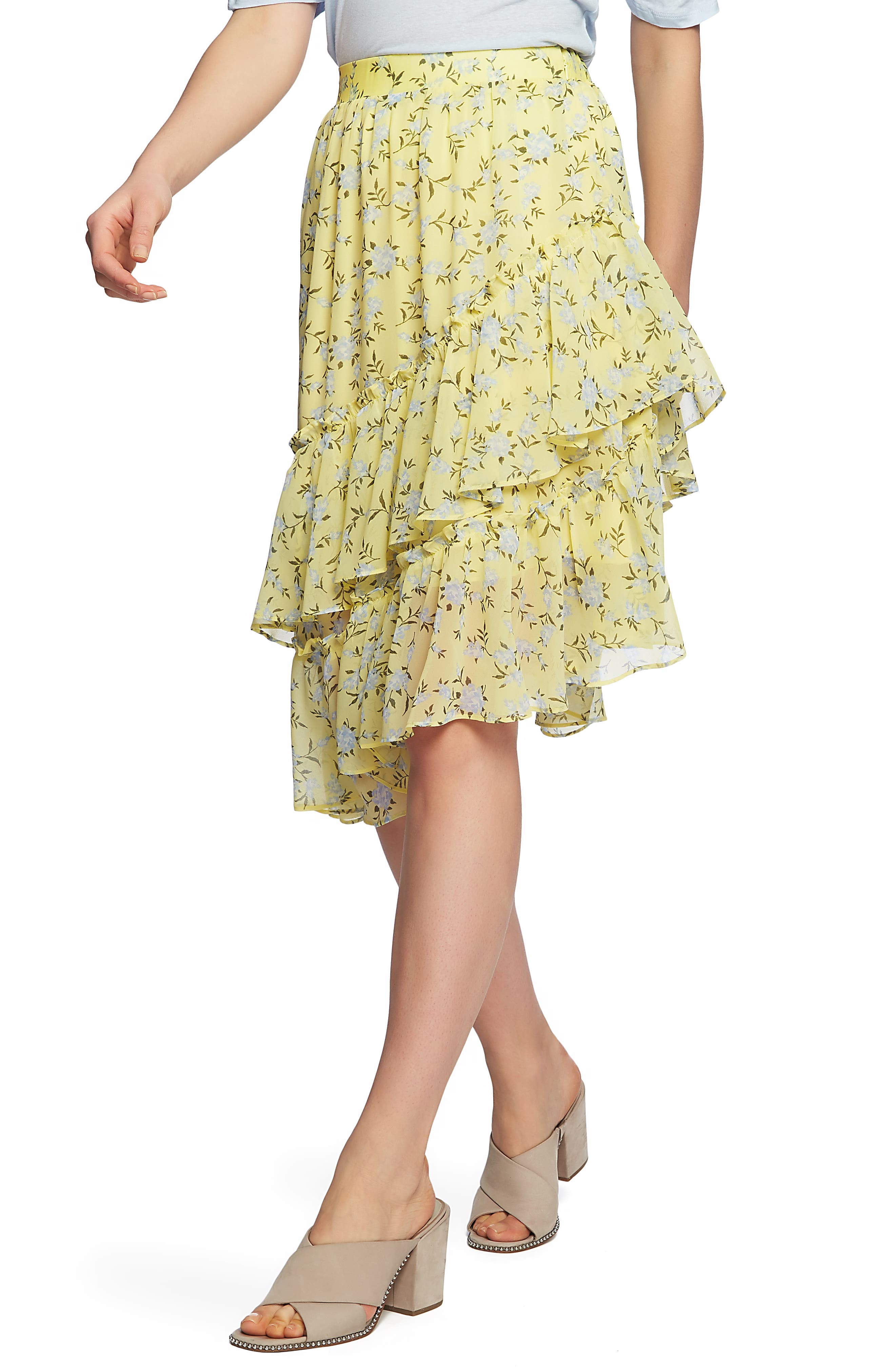 Image of 1.State Floral Tiered Asymmetrical Skirt