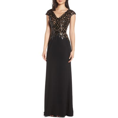 Tadashi Shoji Sequin & Crepe Evening Dress, Black
