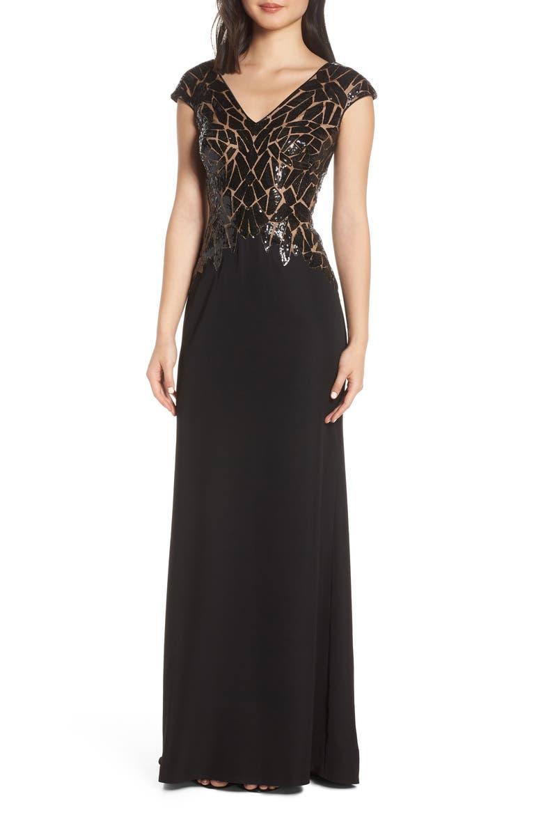 TADASHI SHOJI Sequin & Crepe Evening Dress, Main, color, BLACK/ NUDE