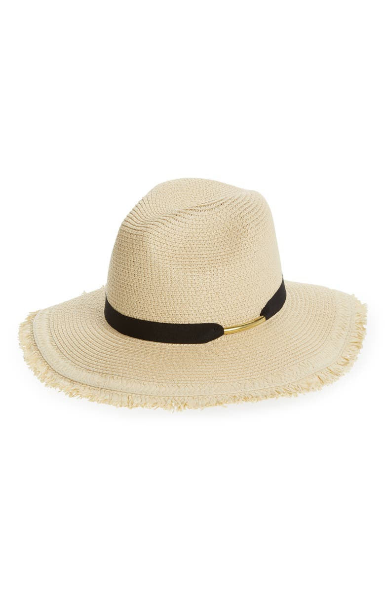 CAPELLI NEW YORK Capelli of New York Frayed Straw Panama Hat, Main, color, 002