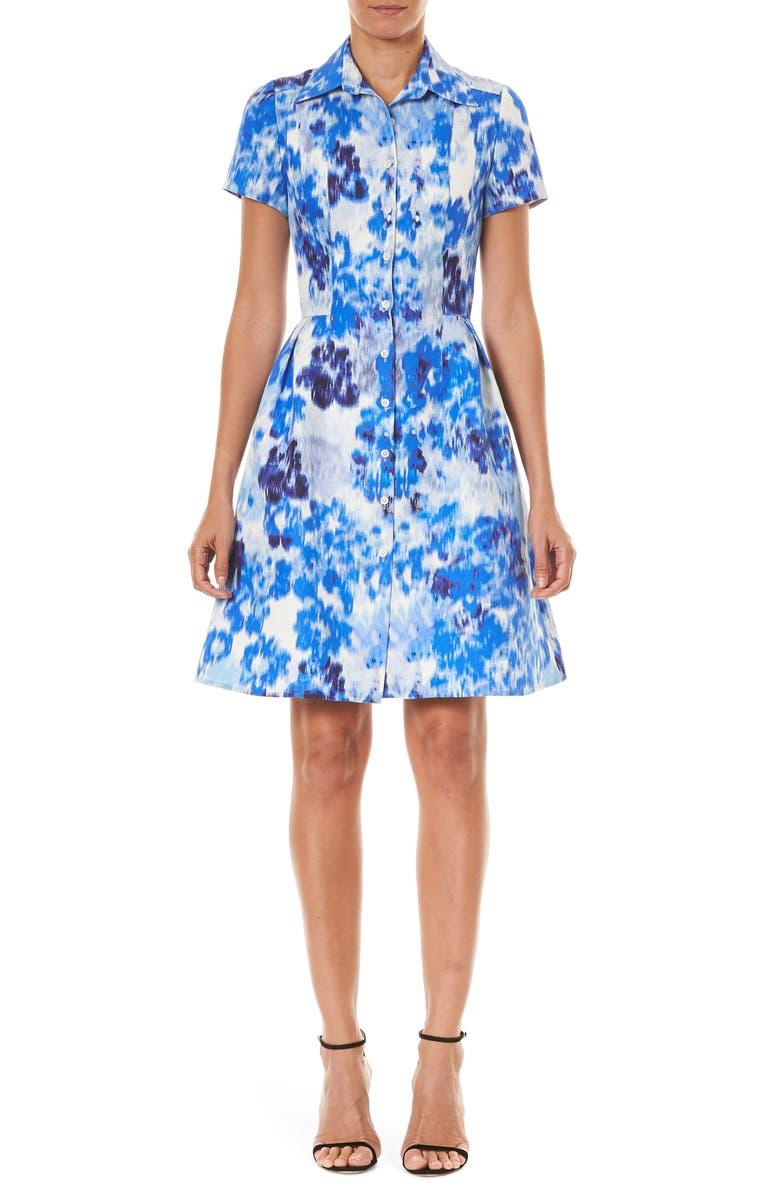 CAROLINA HERRERA Floral Print Cotton & Silk Mini Shirtdress, Main, color, 400