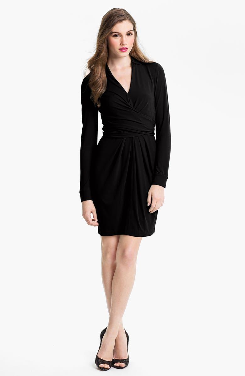 VINCE CAMUTO Matte Jersey Faux Wrap Dress, Main, color, 001