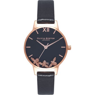Olivia Burton Busy Bees Leather Strap Watch, 30Mm