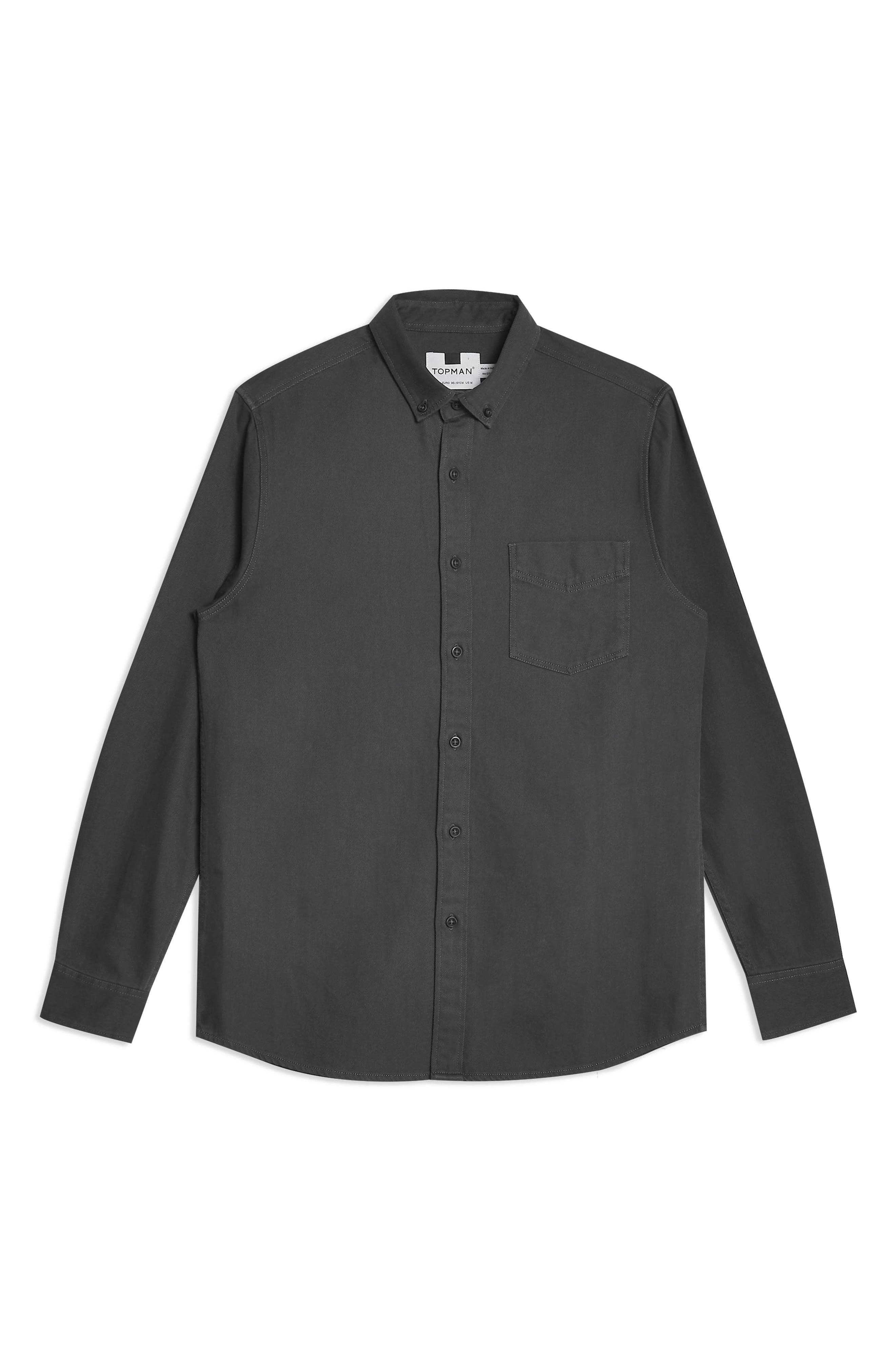 ,                             Twill Slim Fit Shirt,                             Alternate thumbnail 3, color,                             CHARCOAL
