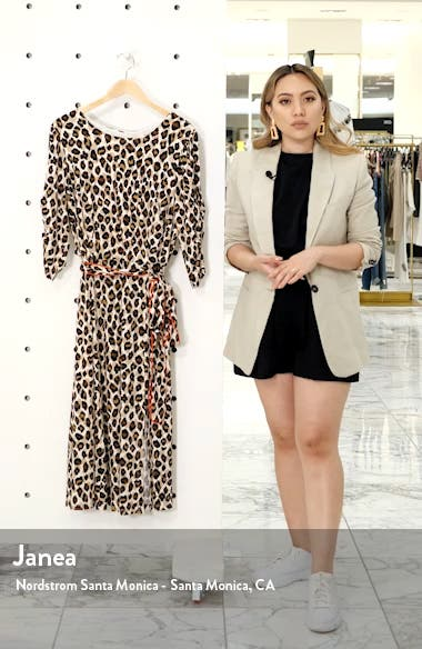 Leopard Print Piped Sash Midi Dress, sales video thumbnail
