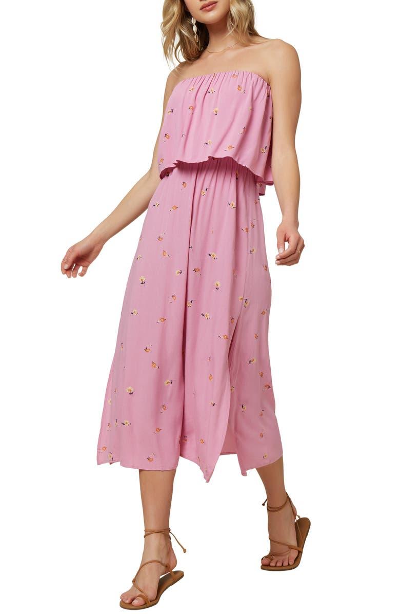 O'NEILL Koia Strapless Popover Midi Dress, Main, color, BEGONIA