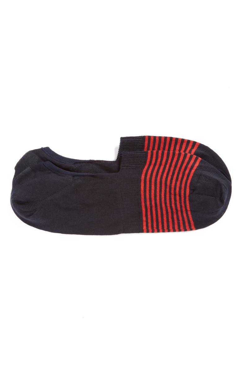 PANTHERELLA Stripe No-Show Socks, Main, color, NAVY/ RED STRIPE