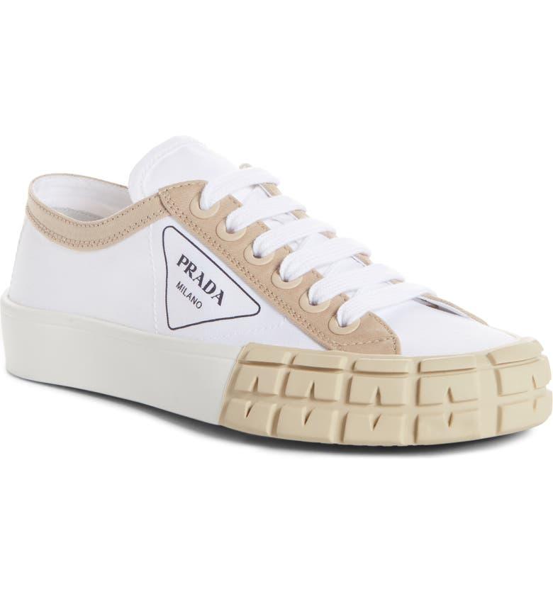 PRADA Logo Sneaker, Main, color, WHITE/ BEIGE
