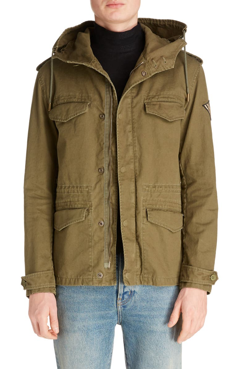 SAINT LAURENT Hooded Parka, Main, color, GREEN
