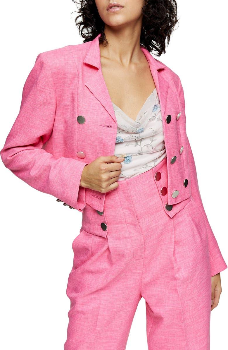 TOPSHOP IDOL Triple Breasted Crop Blazer, Main, color, PINK