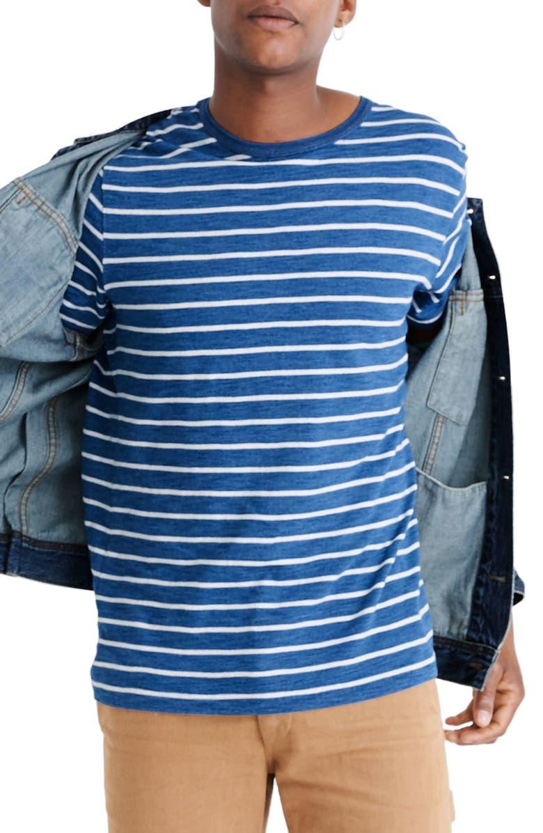 MADEWELL Allday Indigo Mariner Stripe Crewneck T-Shirt, Main, color, 400