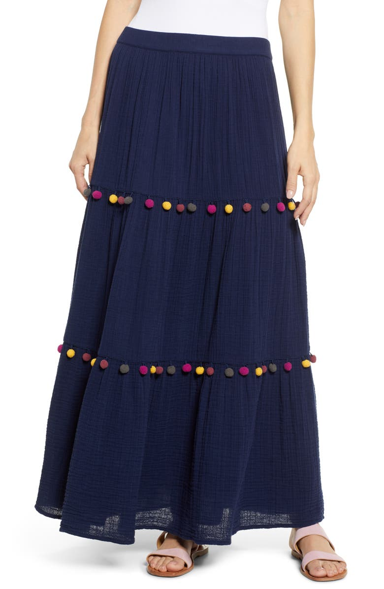 CASLON<SUP>®</SUP> Tiered Pompom Maci Skirt, Main, color, 401