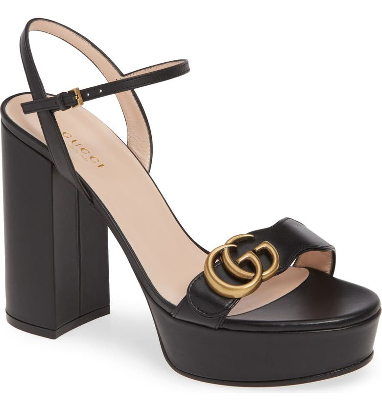 GUCCI GG Platform Sandal, Main, color, BLACK
