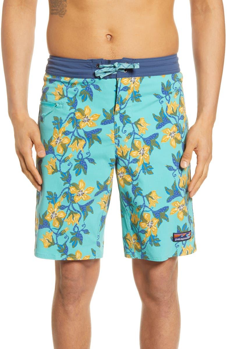 PATAGONIA Wavefarer Board Shorts, Main, color, SQUASH BLOSSOM/ BERYL GREEN