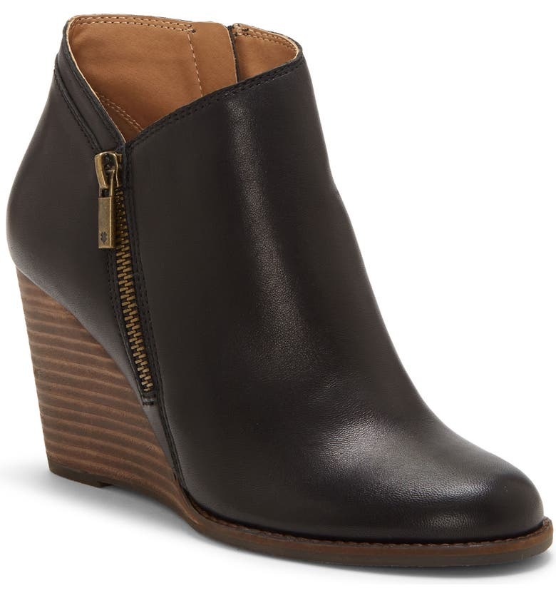 LUCKY BRAND Yewani Bootie, Main, color, BLACK LEATHER