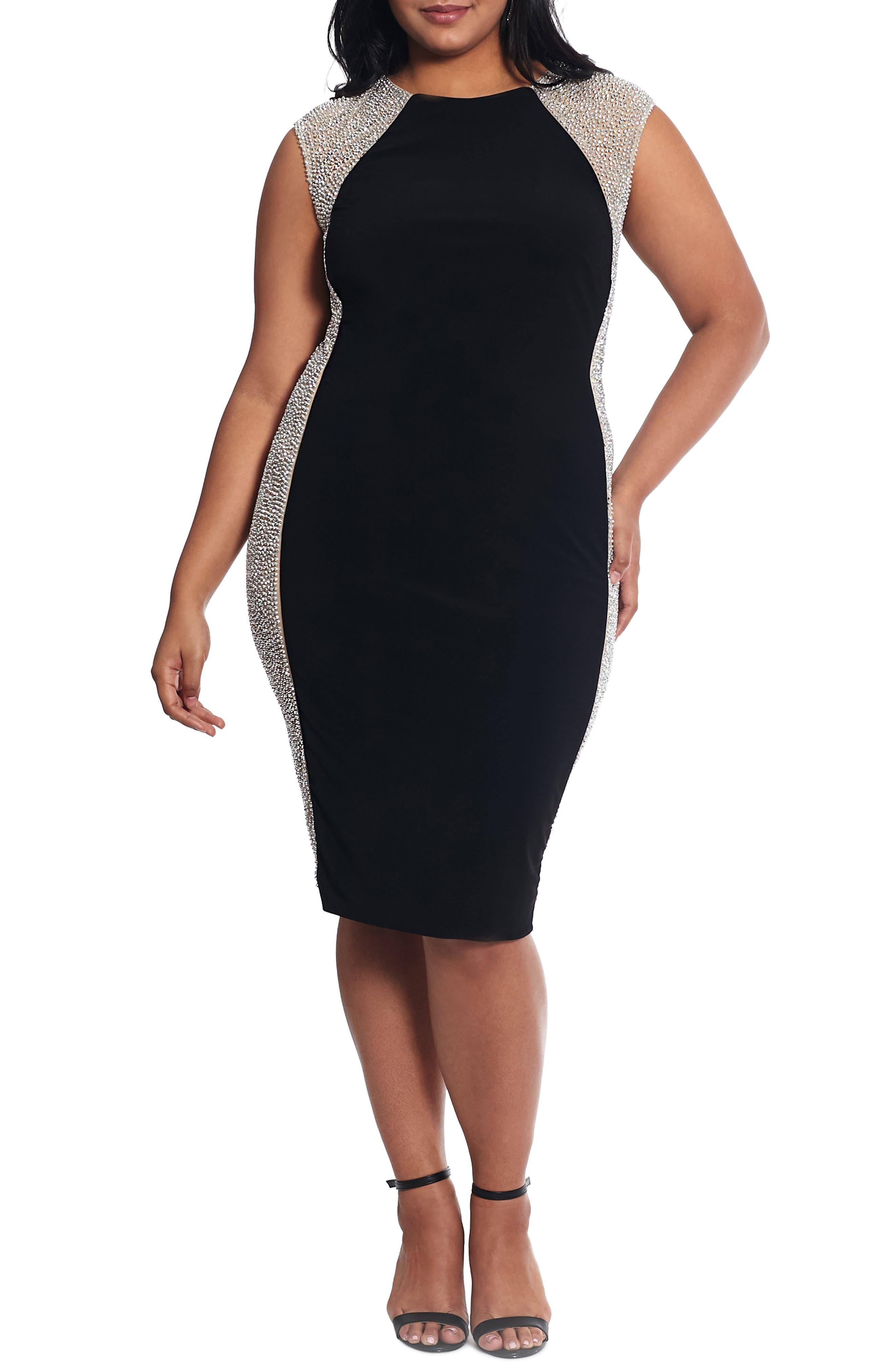 Plus Size Xscape Caviar Bead Mesh Velvet Cocktail Dress, Black
