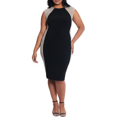 Plus Size Xscape Caviar Bead Mesh Velvet Cocktail Dress