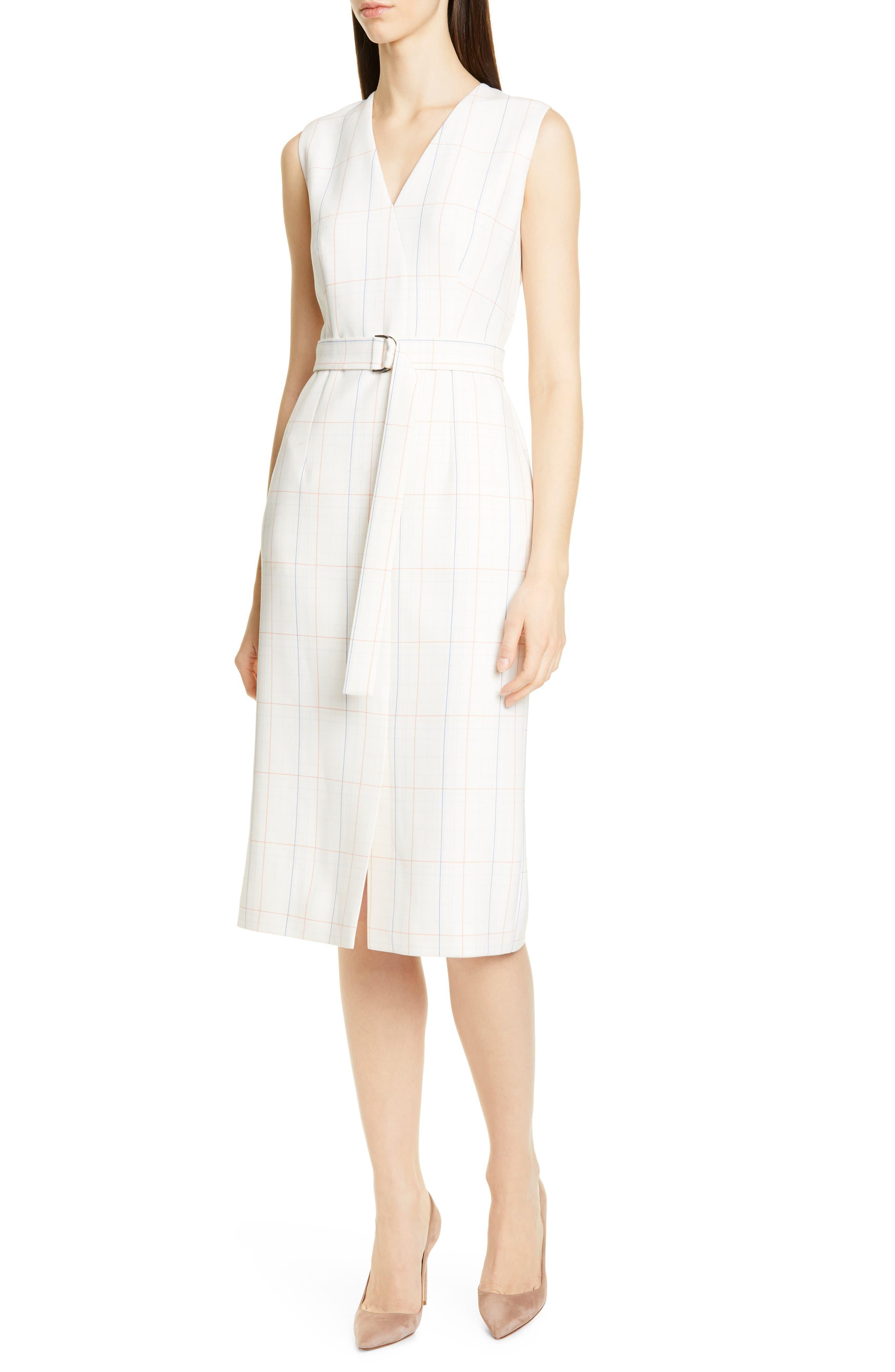 Boss Check Faux Wrap Dress, White
