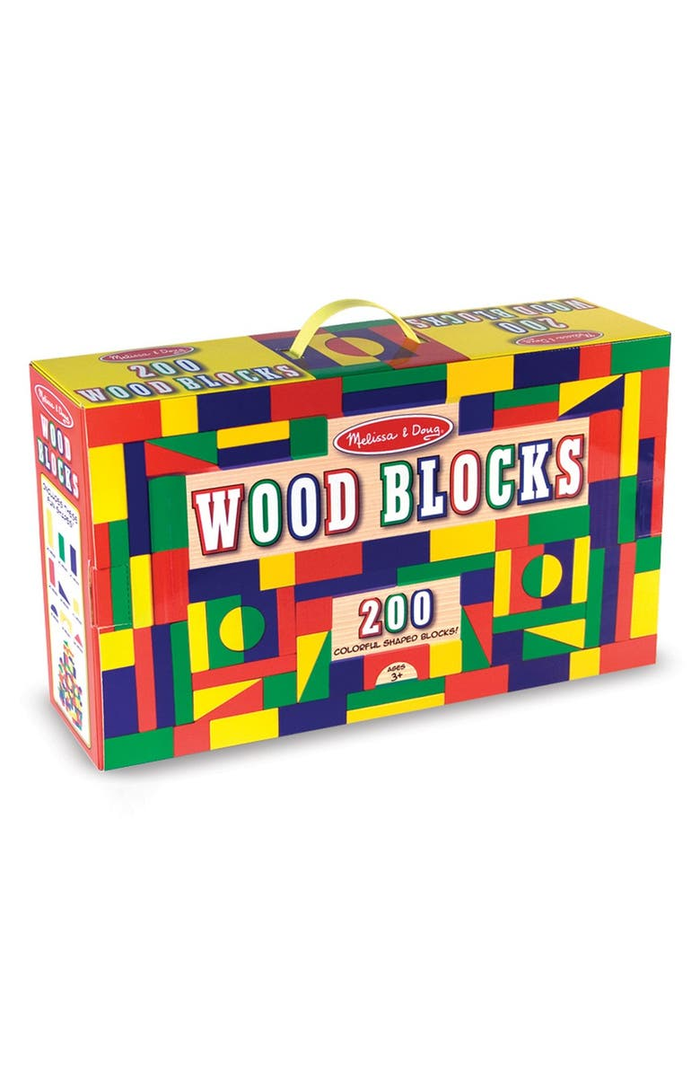 MELISSA & DOUG 200-Piece Wood Block Set, Main, color, MULTI