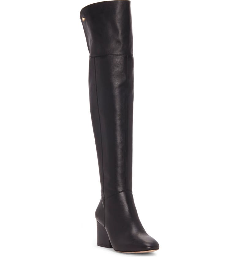 LOUISE ET CIE Vayna Over the Knee Boot, Main, color, BLACK LEATHER