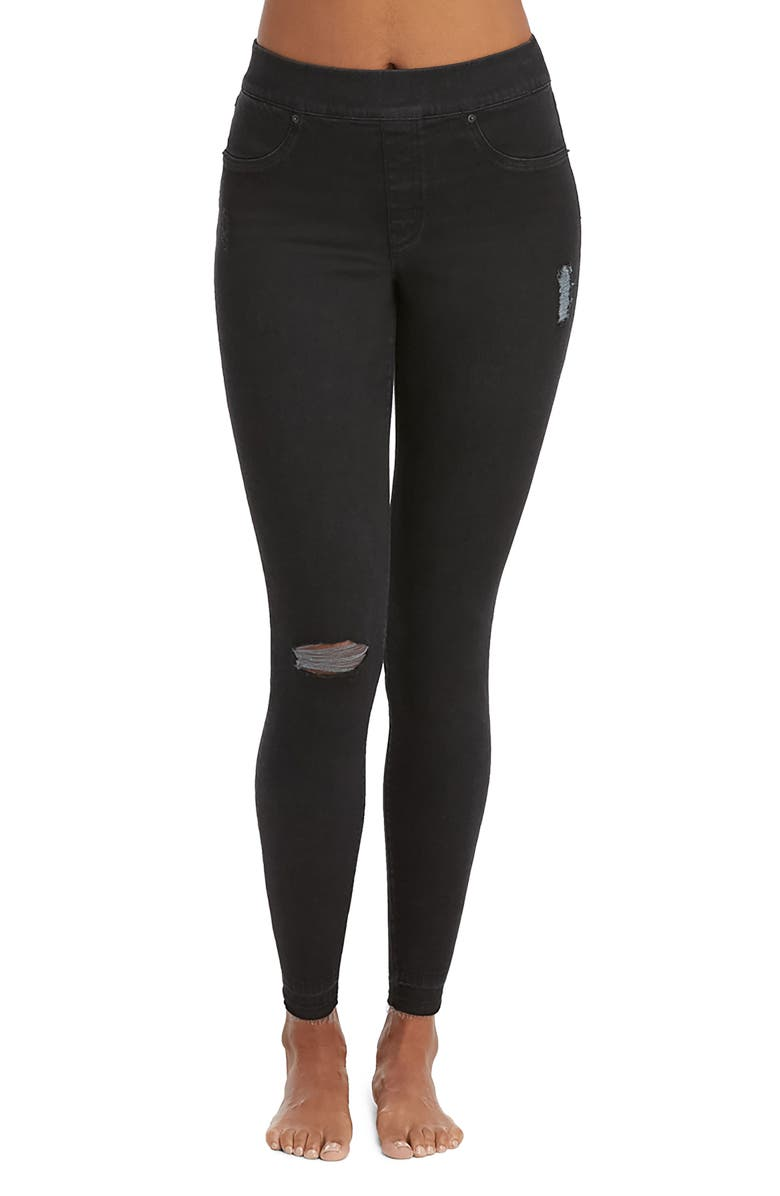 SPANX<SUP>®</SUP> Distressed Skinny Denim Leggings, Main, color, VINTAGE BLACK