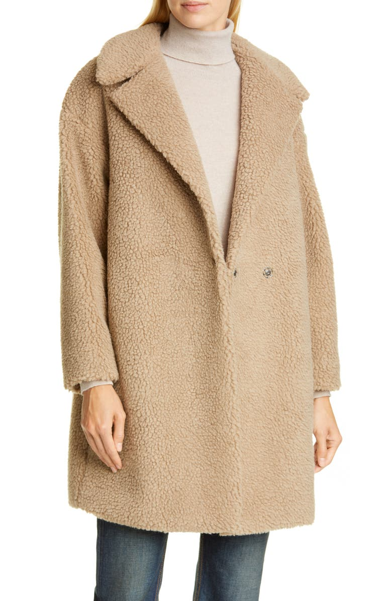 HARRIS WHARF LONDON Faux Shearling Coat, Main, color, TAN