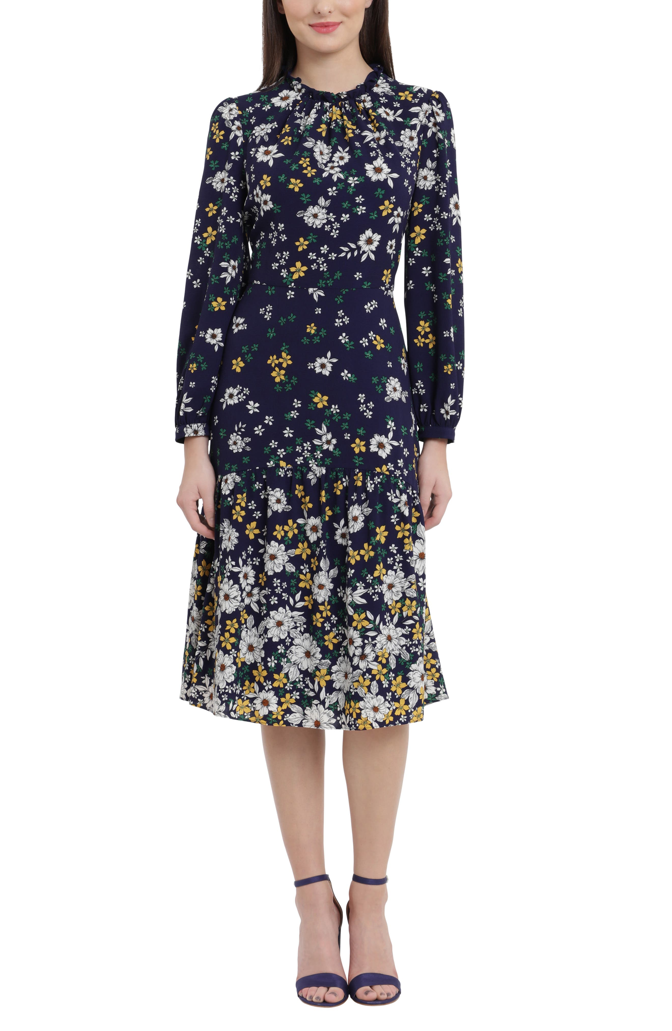 Floral Ruffle Neck Long Sleeve Midi Dress