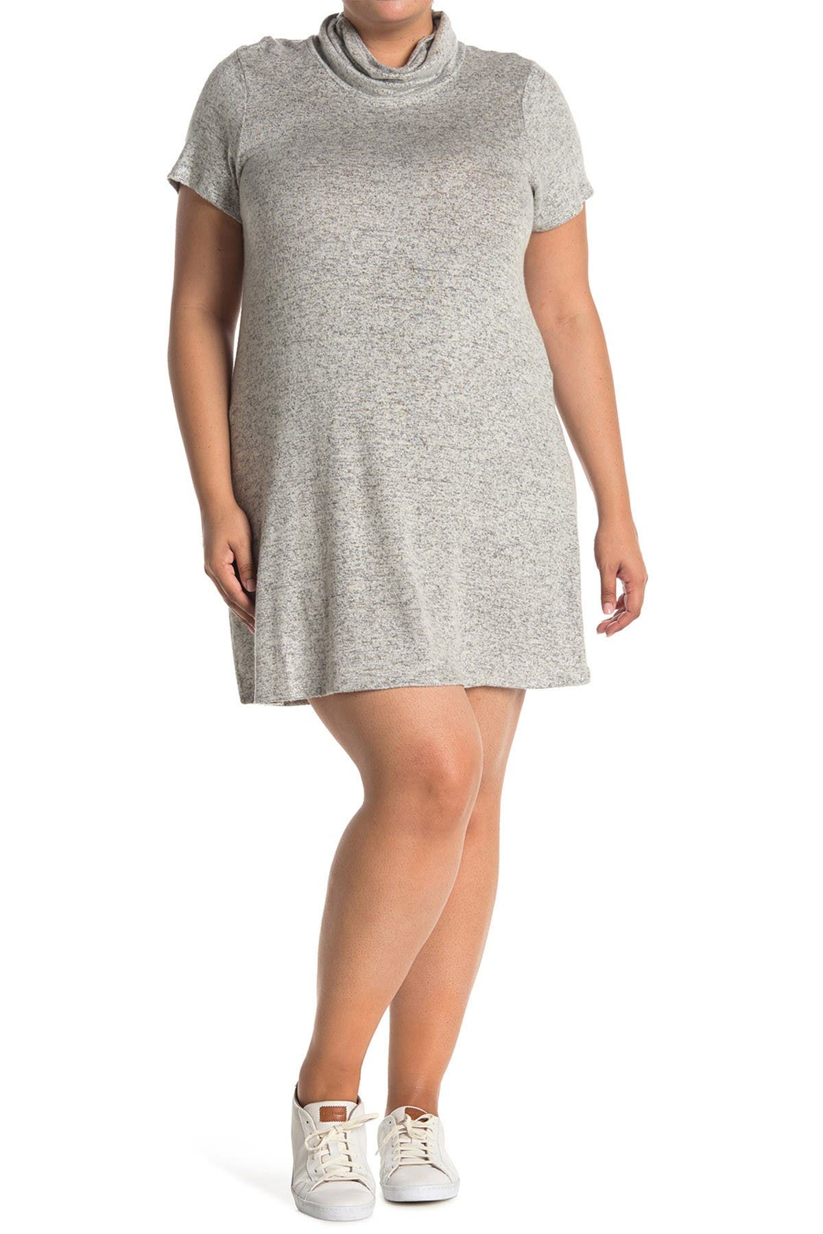 Image of Bobeau Cowl Neck Face Mask Midi Dress