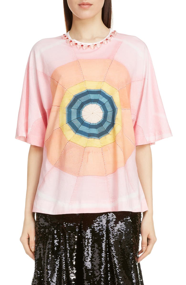 SIMONE ROCHA Beaded Collar Jersey Tee, Main, color, PINK/ PINK/ RED
