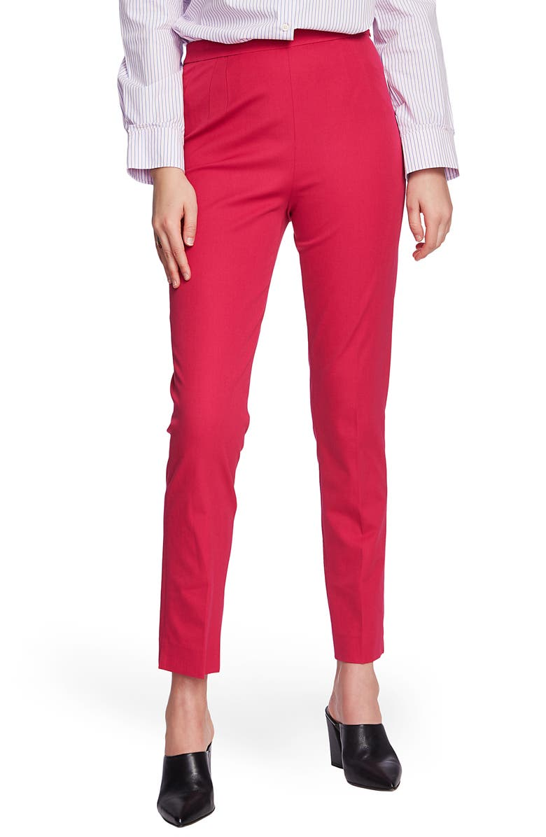 COURT & ROWE Slim Stretch Twill Pants, Main, color, PINK OBSESSION