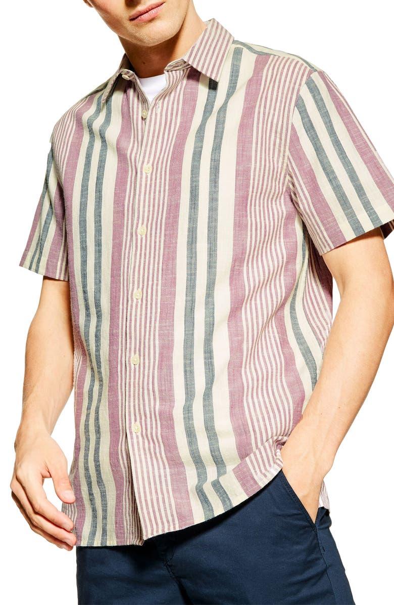 TOPMAN Slim Fit Stripe Short Sleeve Button-Up Shirt, Main, color, BEIGE MULTI