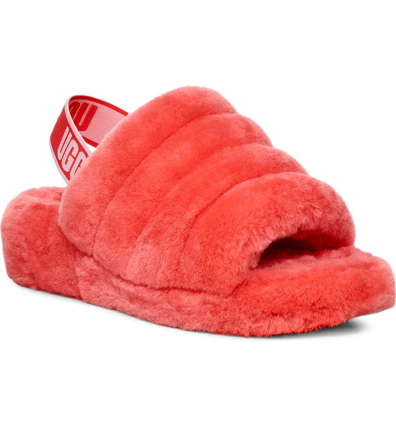UGG<SUP>®</SUP> Fluff Yeah Genuine Shearling Slide, Main, color, NEON CORAL