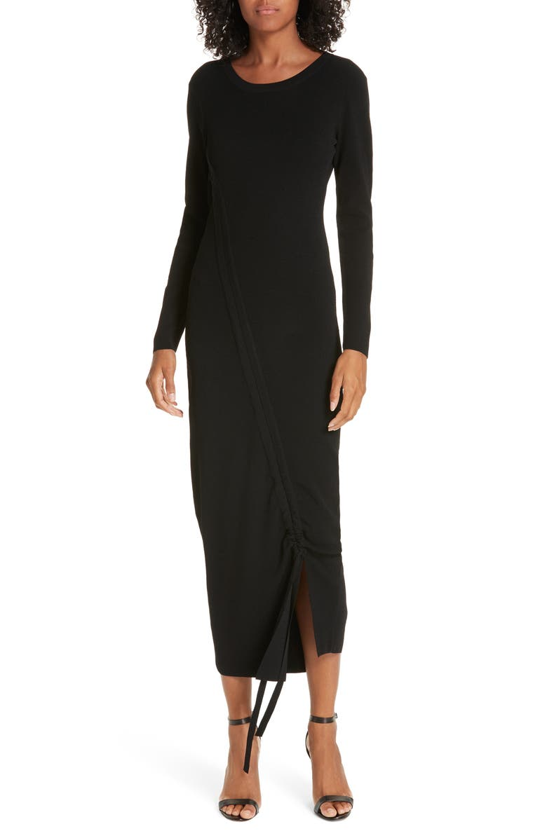 MILLY Diagonal Ruched Tunnel Dress, Main, color, 001