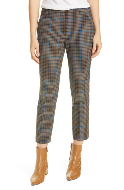 Theory TREECA 4 PLAID CROP PANTS