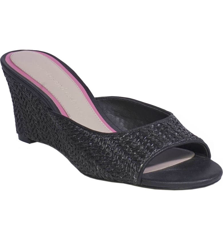 CUPCAKES AND CASHMERE Gwenna Wedge Sandal, Main, color, BLACK LEATHER