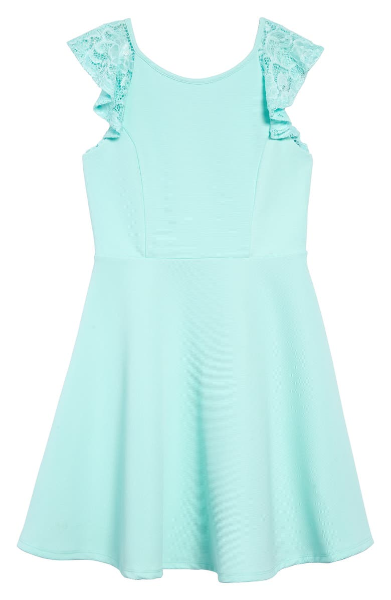 AVA & YELLY Lace Sleeve Skater Dress, Main, color, MINT