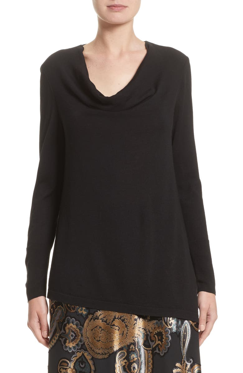 LAFAYETTE 148 NEW YORK Asymmetrical Cowl Neck Sweater, Main, color, BLACK