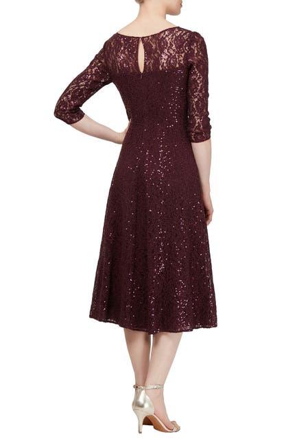 Image of SLNY Lace & Sequin Tea Length Dress