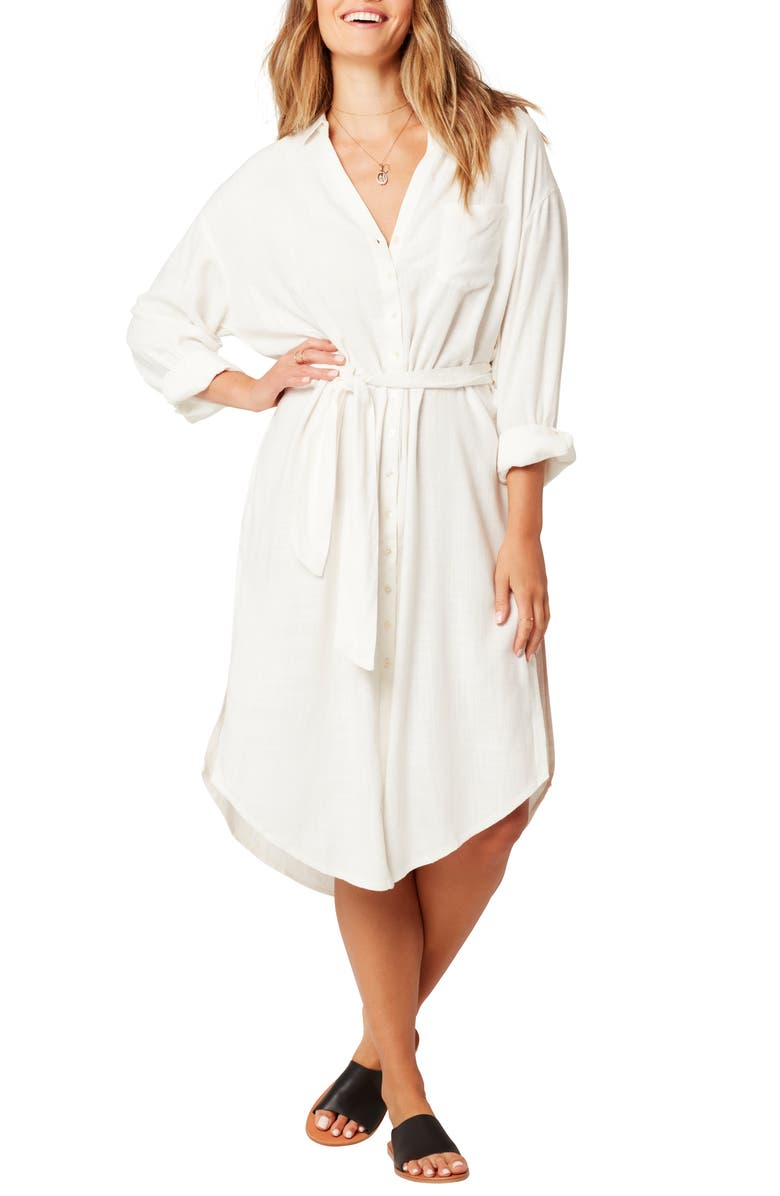 L SPACE Barcelona Cover-Up Shirtdress, Main, color, CREAM