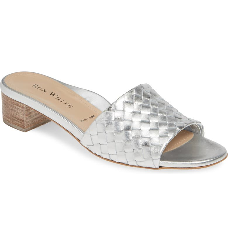 RON WHITE Emia Slide Sandal, Main, color, SILVER