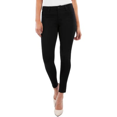Kut From The Kloth Donna High Waist Raw Hem Ankle Skinny Jeans, Black