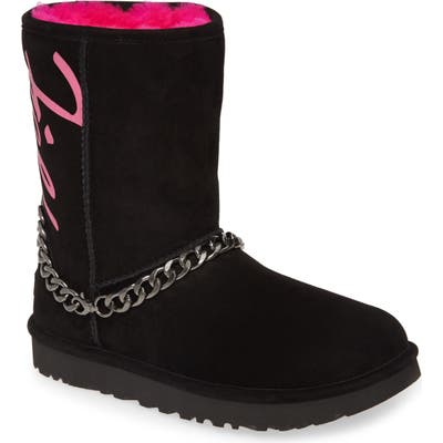 UGG Perfect Pairs Classic Genuine Shearling Lined Short Chain Boot, Black