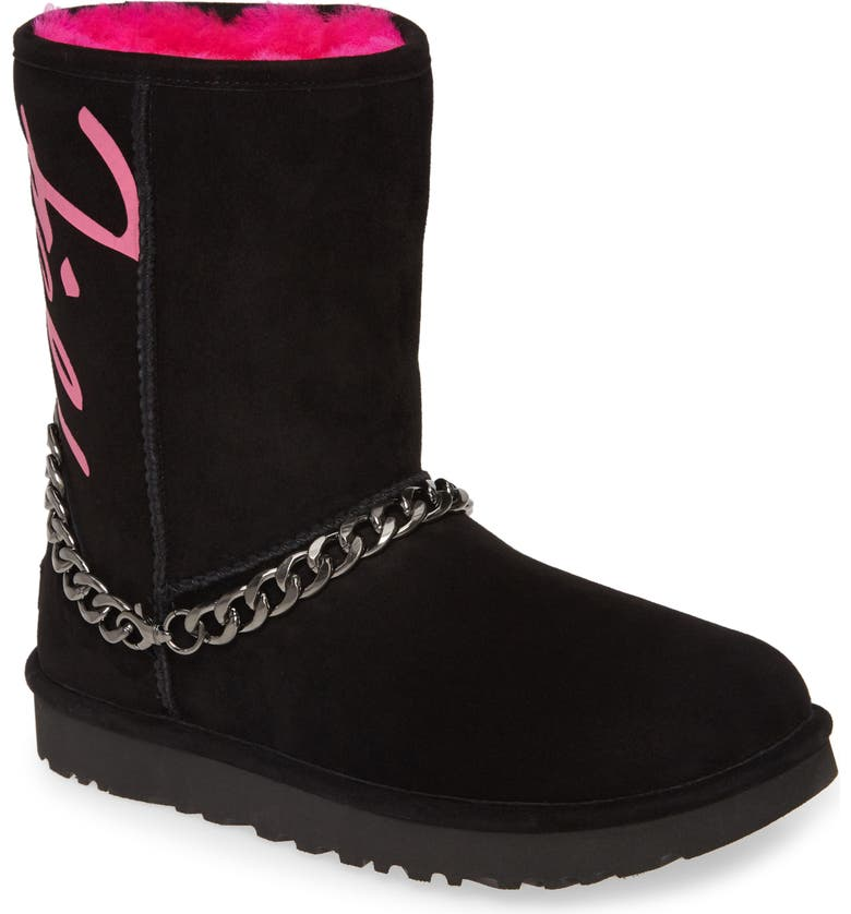 UGG<SUP>®</SUP> Perfect Pairs Classic Genuine Shearling Lined Short Chain Boot, Main, color, 001