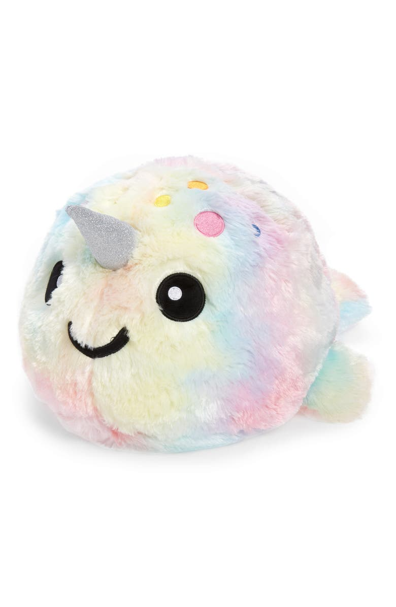 ISCREAM Rainbow Narwhal Bubblegum Scented Faux Fur Accent Pillow, Main, color, WHITE