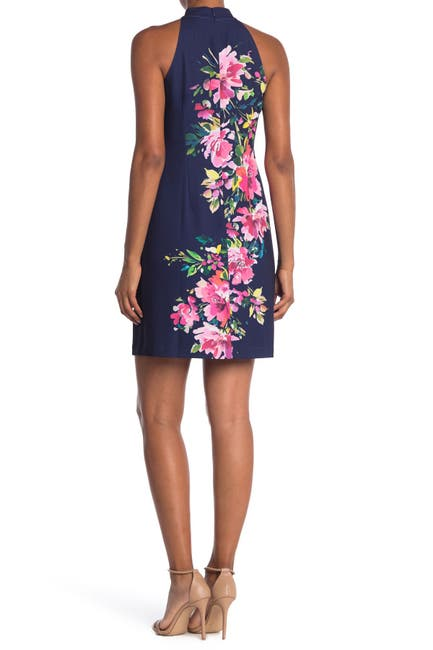 Image of Vince Camuto Bow Neck Floral Sheath Dress