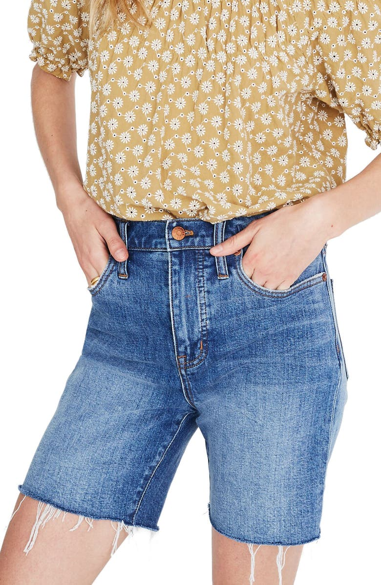 MADEWELL High-Rise Mid-Length Denim Short, Main, color, GOSFORD WASH