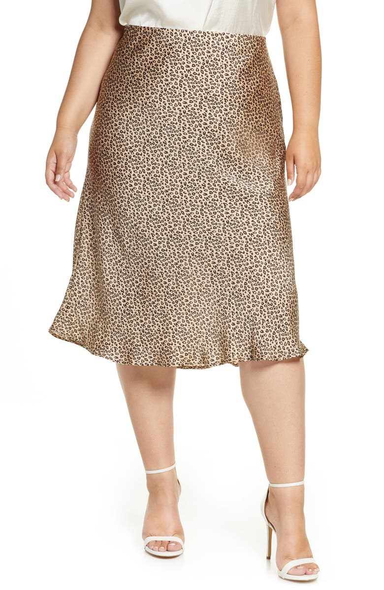 LEITH Fluid Midi Skirt, Main, color, LEOPARD