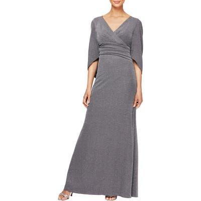Alex Evenings Cape Sleeve Metallic Twill Gown, Grey