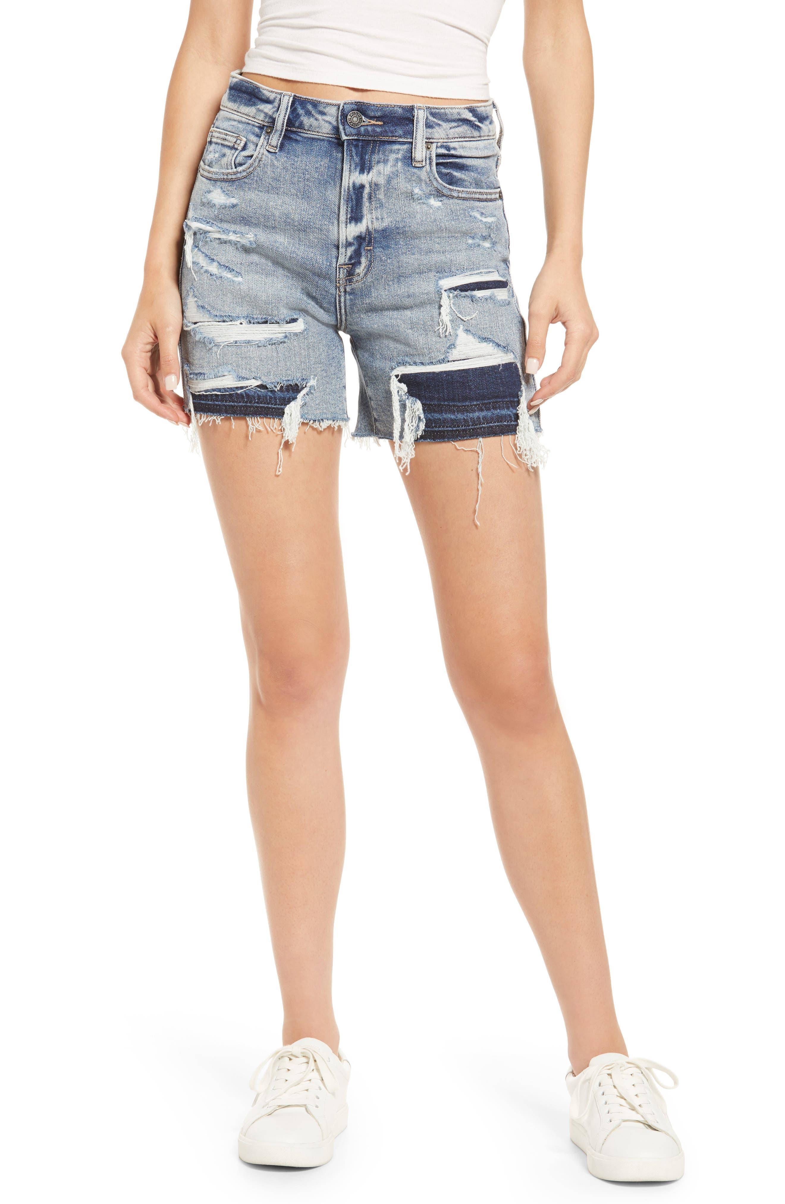 Repaired Distressed Cutoff Denim Shorts