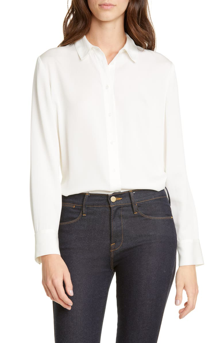 NORDSTROM SIGNATURE Stretch Silk Button-Up Shirt, Main, color, IVORY CLOUD